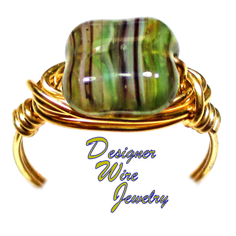 Lovely Spring Meadow Czech Art Glass Artisan Gold Tone Wire Wrap Ring All Sizes