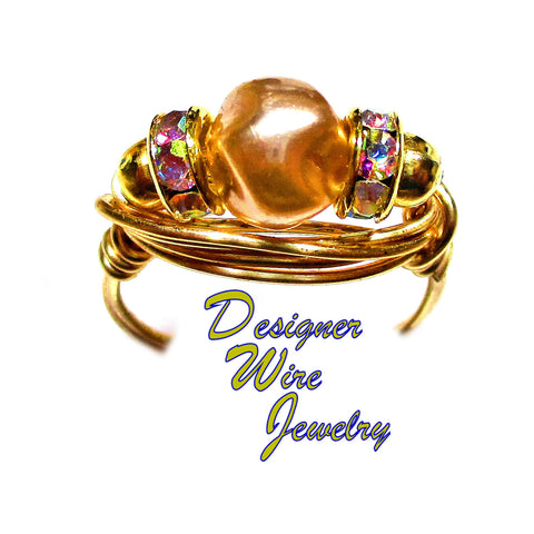 Primrose Golden Pale Czech Art Glass Artisan Gold Tone Wire Wrap Ring All Sizes