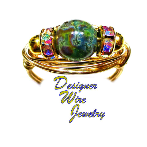 Stunning Ocean Dreams Czech Art Glass Artisan Gold Tone Wire Wrap Ring All Sizes