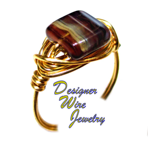 Gorgeous Belgian Truffle Czech Art Glass Artisan Gold Tone Wire Wrap Ring All Sizes