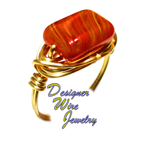 Autumn Red Woodlands Czech Art Glass Artisan Gold Tone Wire Wrap Ring All Sizes