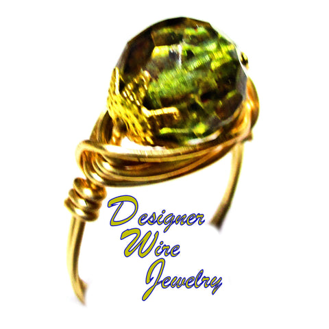 Antique Green Picasso Cz Art Glass Solitaire Artisan Gold Tone Wire Wrap Ring All Sizes