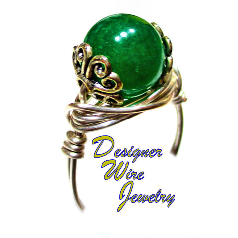 Stunning Genuine Jade Gemstone Artisan Silver Plate Wire Wrap Ring All Sizes