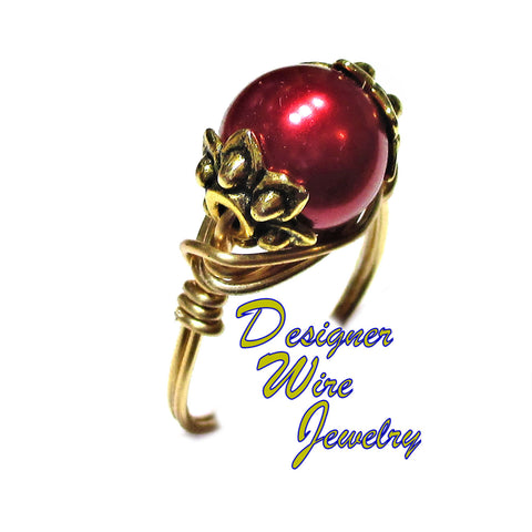 Elegant Black Cherry Pearl Solitaire Artisan Gold Tone Wire Wrap Ring All Sizes