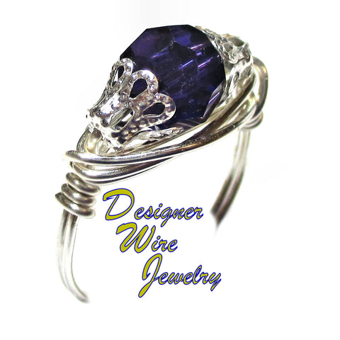 Swarovski Crystal Purple Velvet Solitaire Artisan Silver Plate Wire Wrap Ring All Sizes
