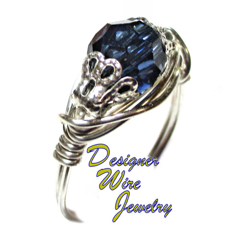 Swarovski Crystal Dark Sapphire Blue Artisan Silver Plate Wire Wrap Ring All Sizes
