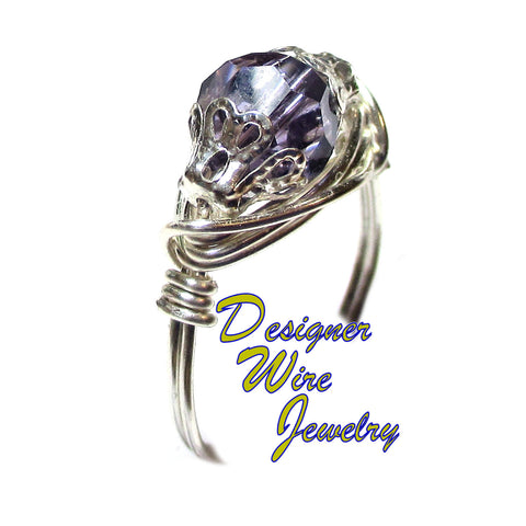 Swarovski Crystal Tanzanite Purple Artisan Silver Plate Wire Wrap Ring All Sizes