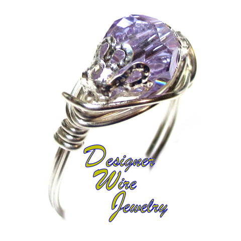 Swarovski Crystal Wisteria Violet Artisan Silver Plate Wire Wrap Ring All Sizes