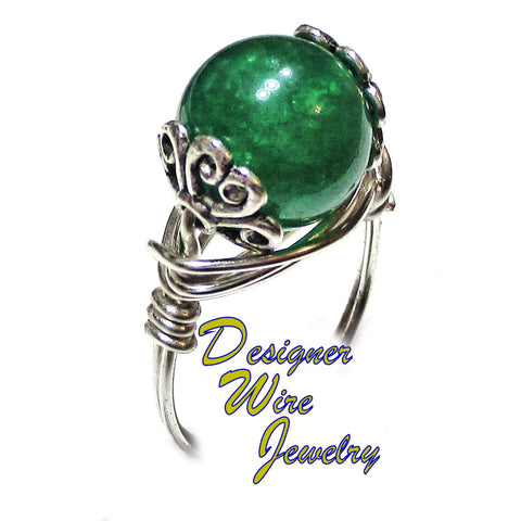 Natural Jade Gemstone Tibetan Accents Artisan Silver Plate Wire Wrap Ring All Sizes