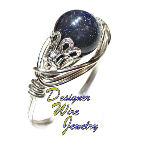 Chic Blue Sandstone Gemstone Solitaire Artisan Silver Plate Wire Wrap Ring All Sizes