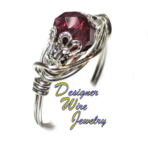 Stunning Siam Red Crystal Solitaire Artisan Silver Plate Wire Wrap Ring All Sizes