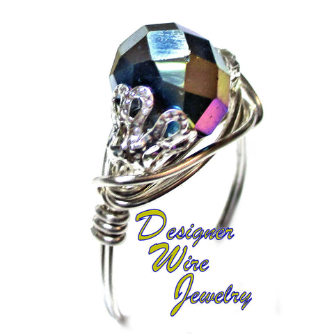 Chic Metallic Peacock Crystal Solitaire Artisan Silver Plate Wire Wrap Ring All Sizes