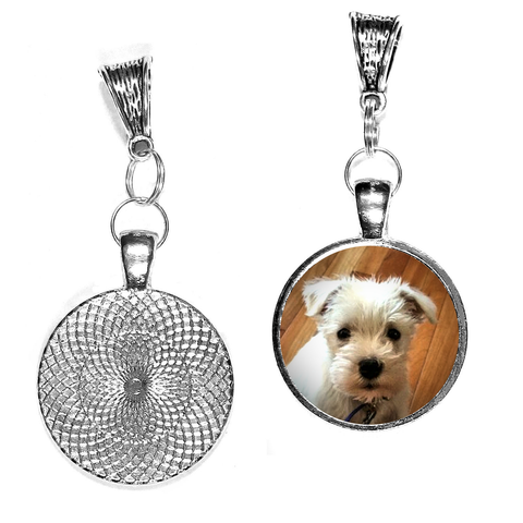 25mm Round Silver-Plated Photo Charm with Baby's Photo, For Necklace/Pandora Style Bracelet