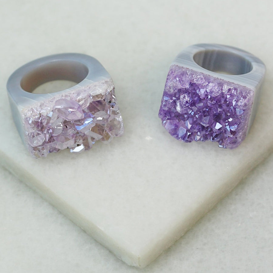 Carved Rock Ring - Amethyst