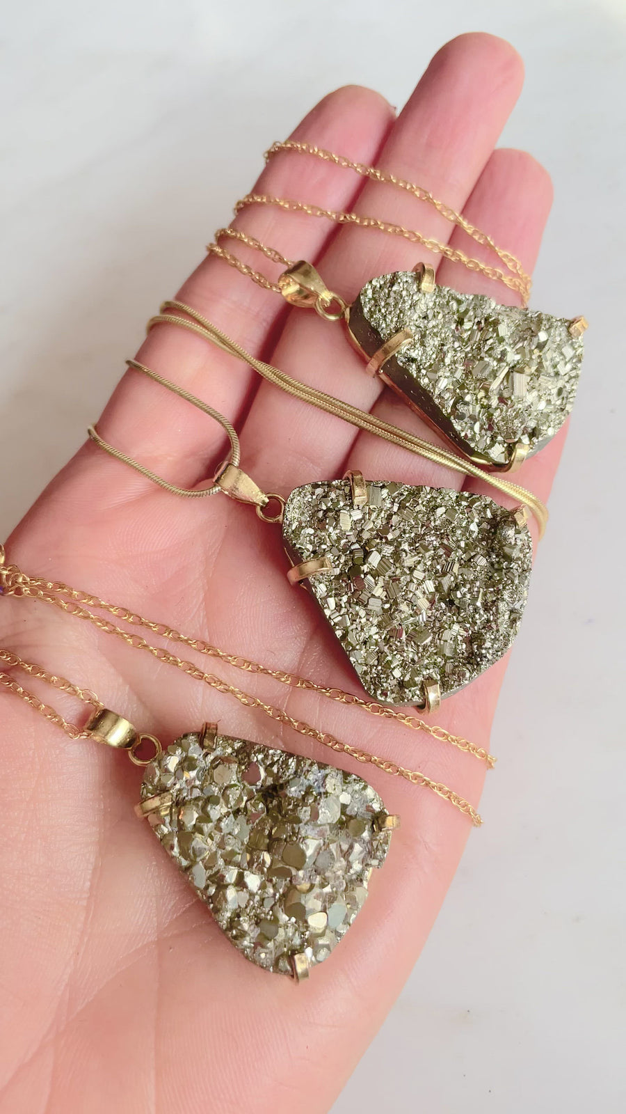 Large Pyrite Necklace - Gold Teardrop