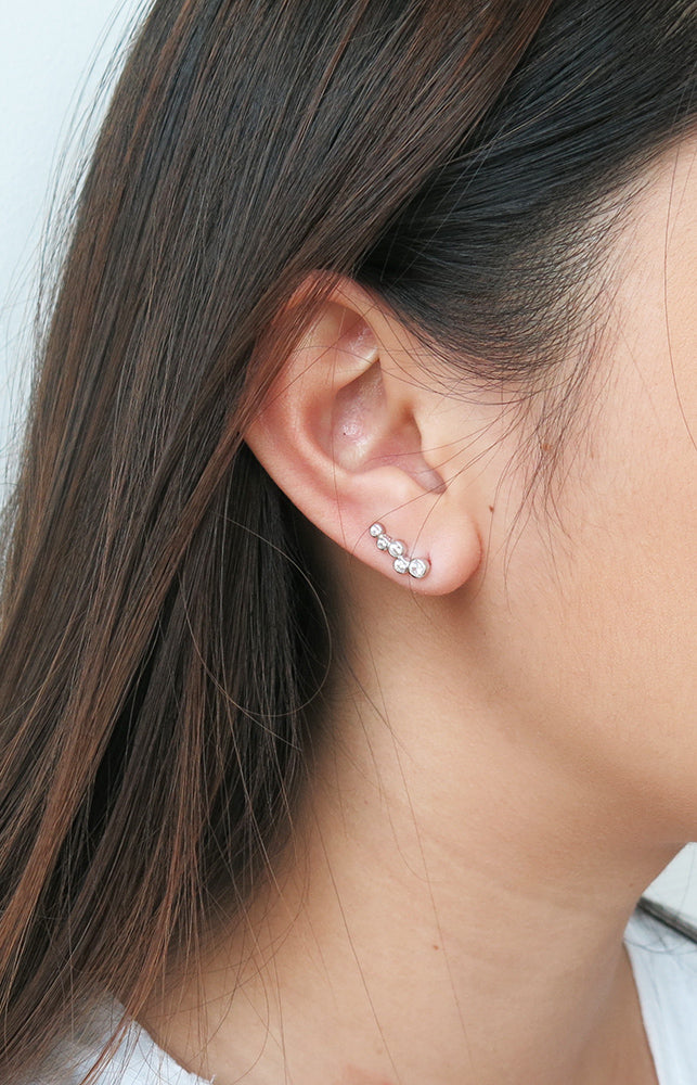 Five Tiny Circle Crystal Ear Climbers