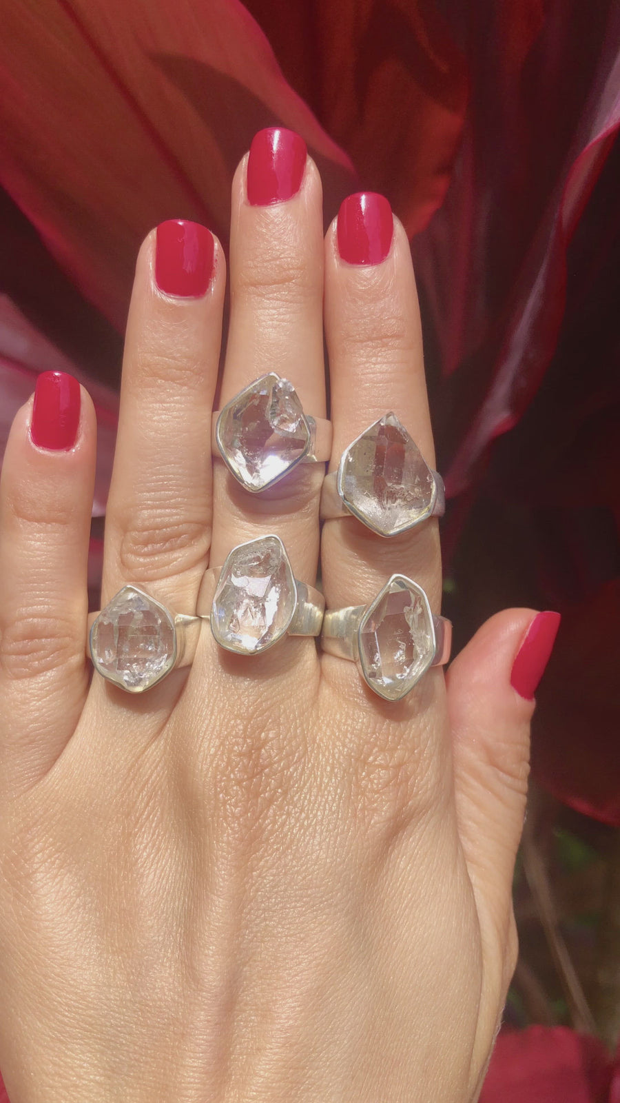 Large Herkimer Diamond Ring - Thick Band