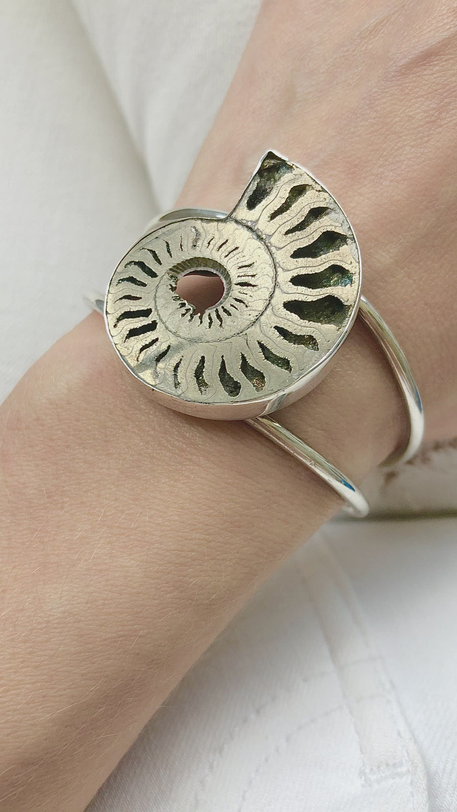 Metal Ammonite Cuff Bracelet - large