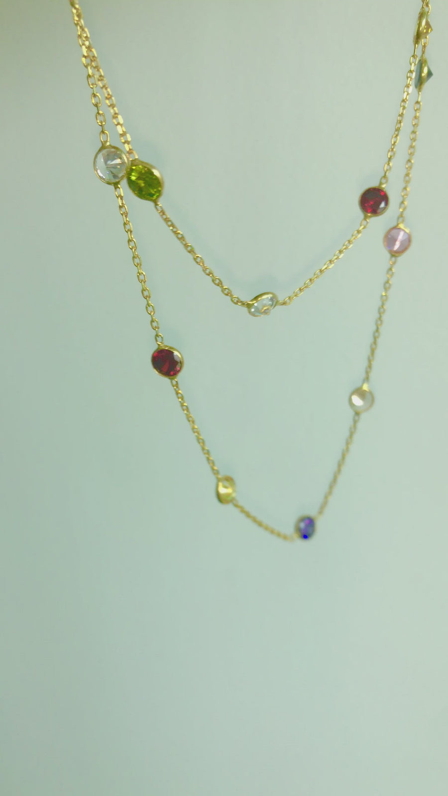 Rainbow Crystal Layer Necklaces - Gold