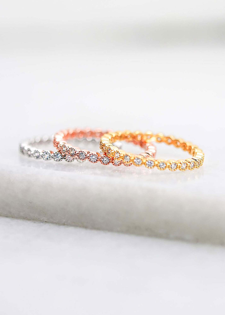 Circle Crystal Infinity Stacker Ring