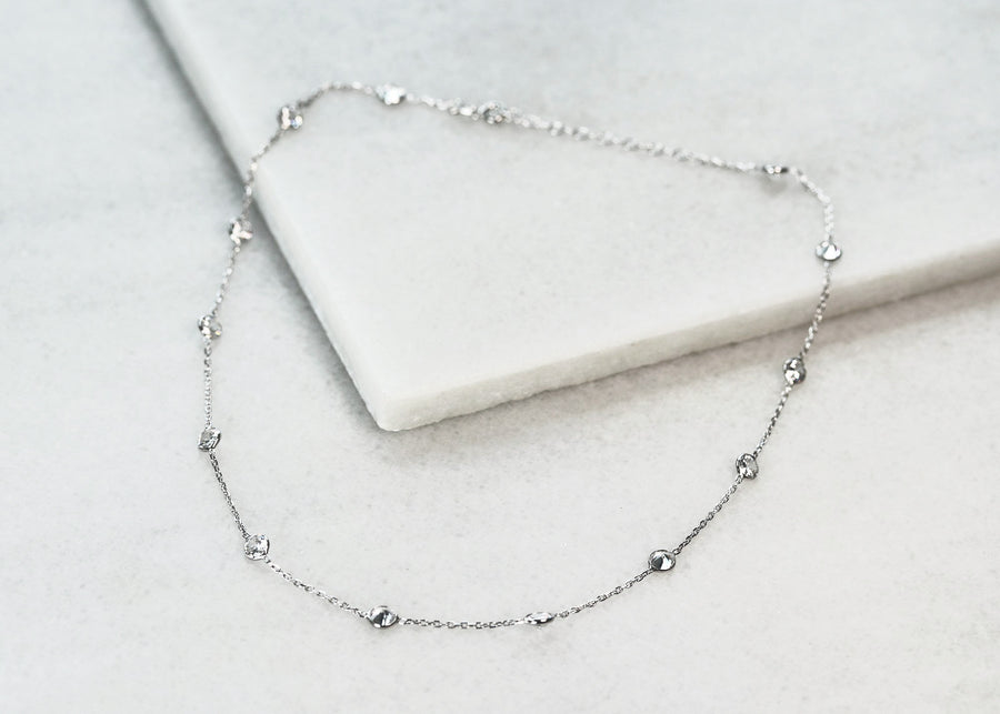 Silver Crystals Layering Necklace