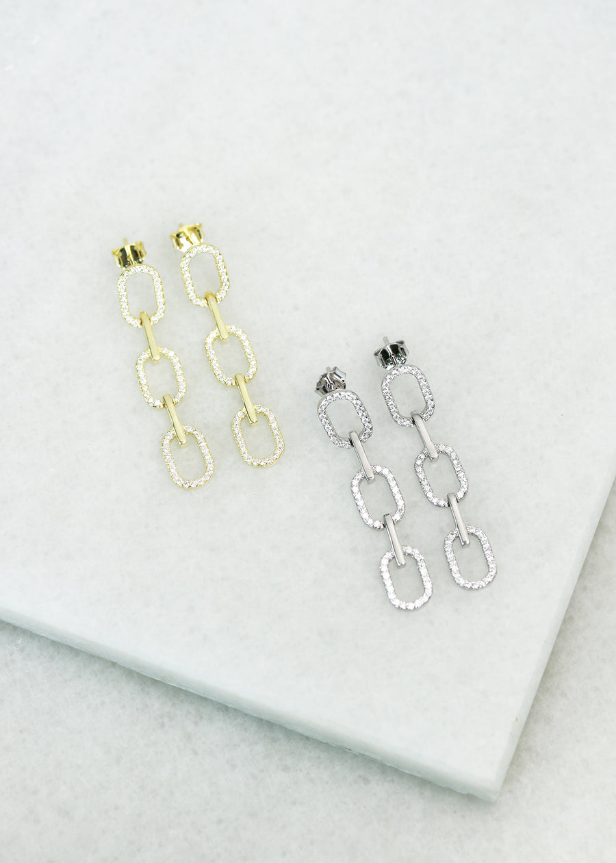 Crystal Chainlink Earrings - Silver & Gold