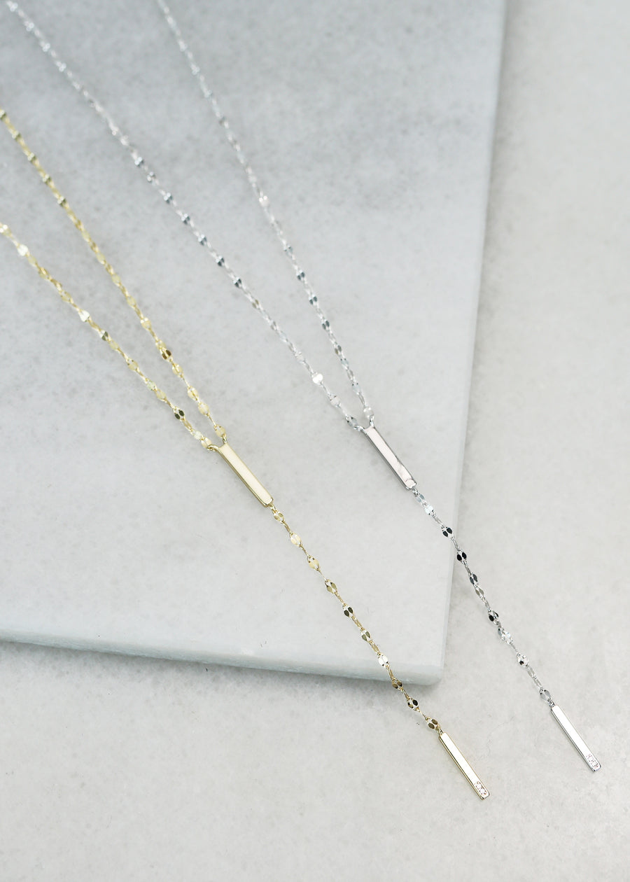 Dainty Glitter Chain Lariat Necklace