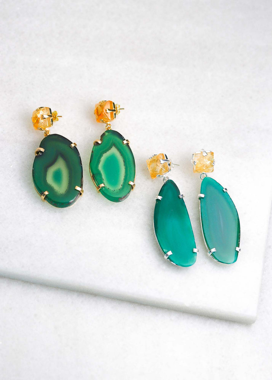 Agate Slice Earrings - Green