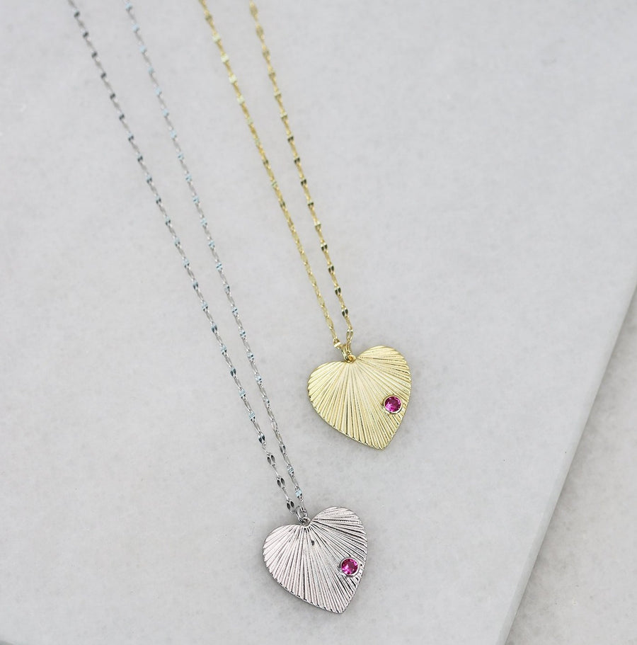Etched Heart Necklace