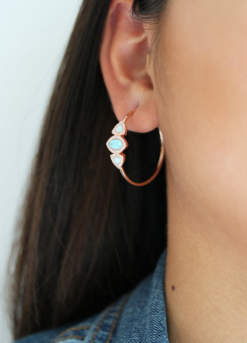 Rose Gold Crystal Opal Hoop Earrings - White Opal