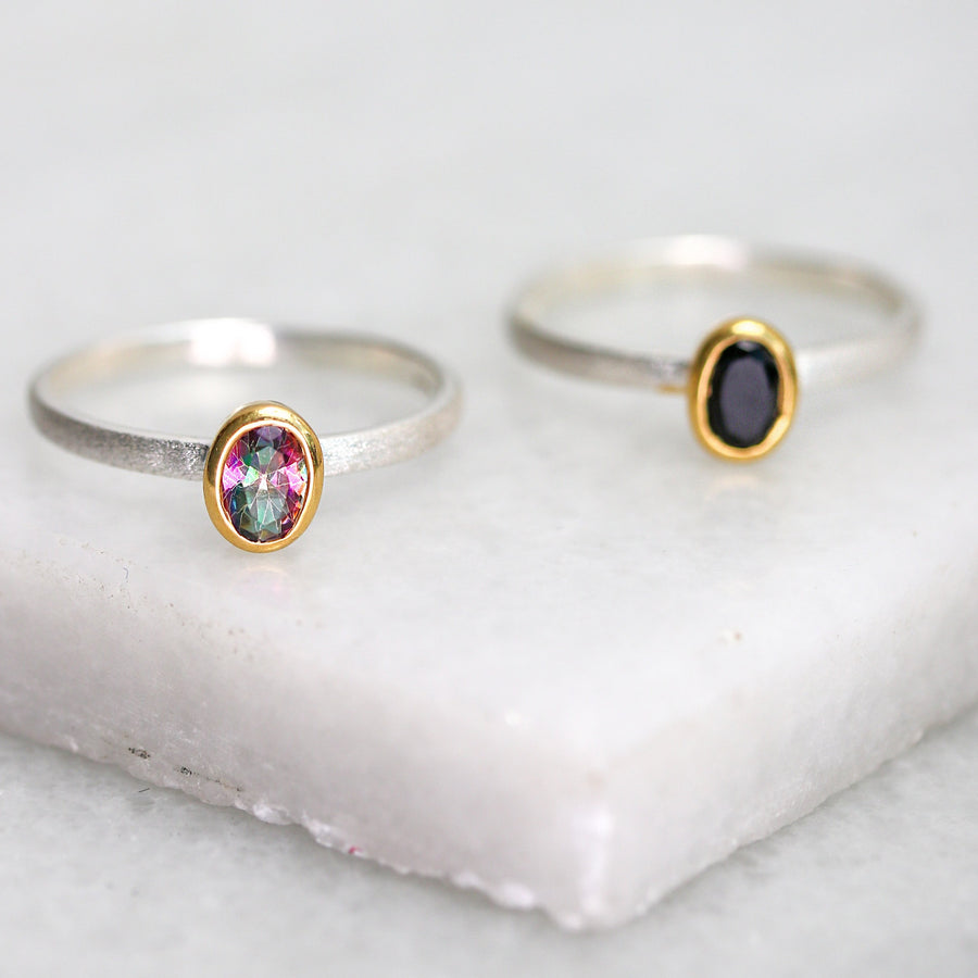 Mixed Metal Gemstone Ring - Topaz & Onyx