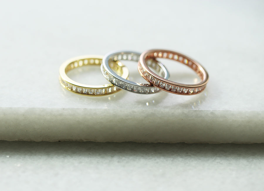 Small Infinity Baguette Stacker Ring