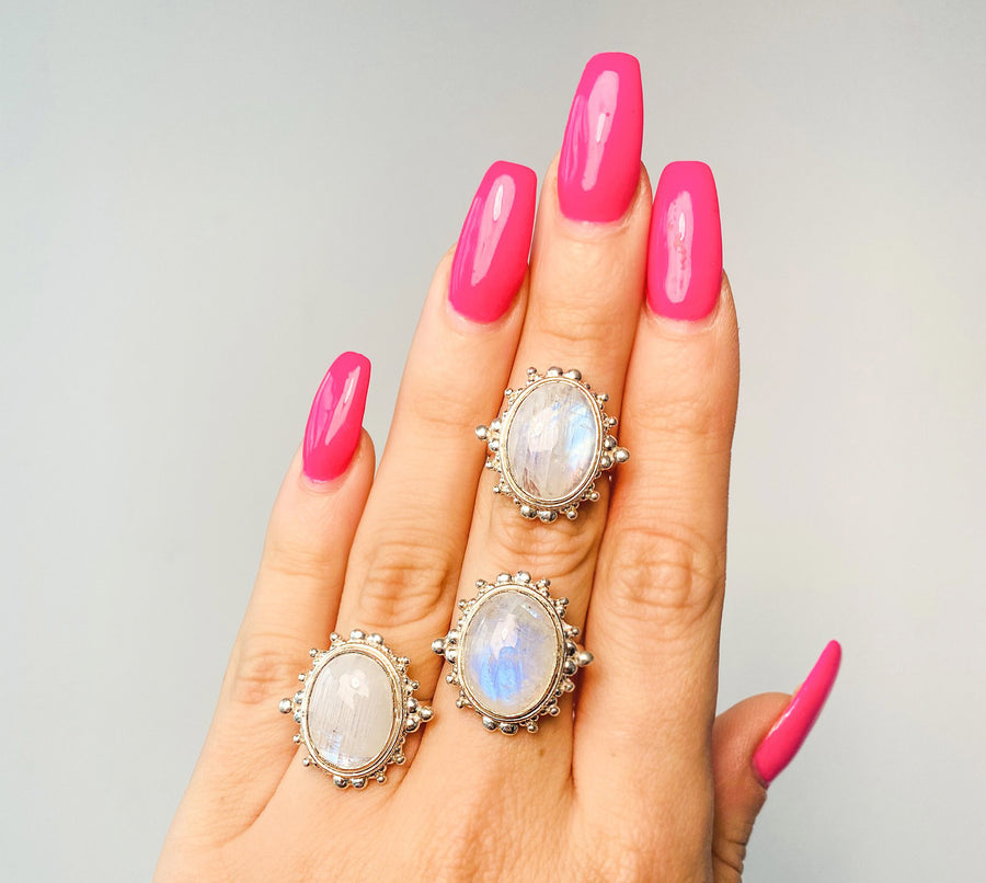 Intricate Framed Moonstone Rings