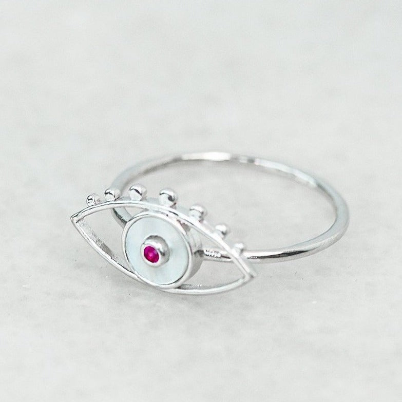 Mother of Pearl Evil Eye Ring