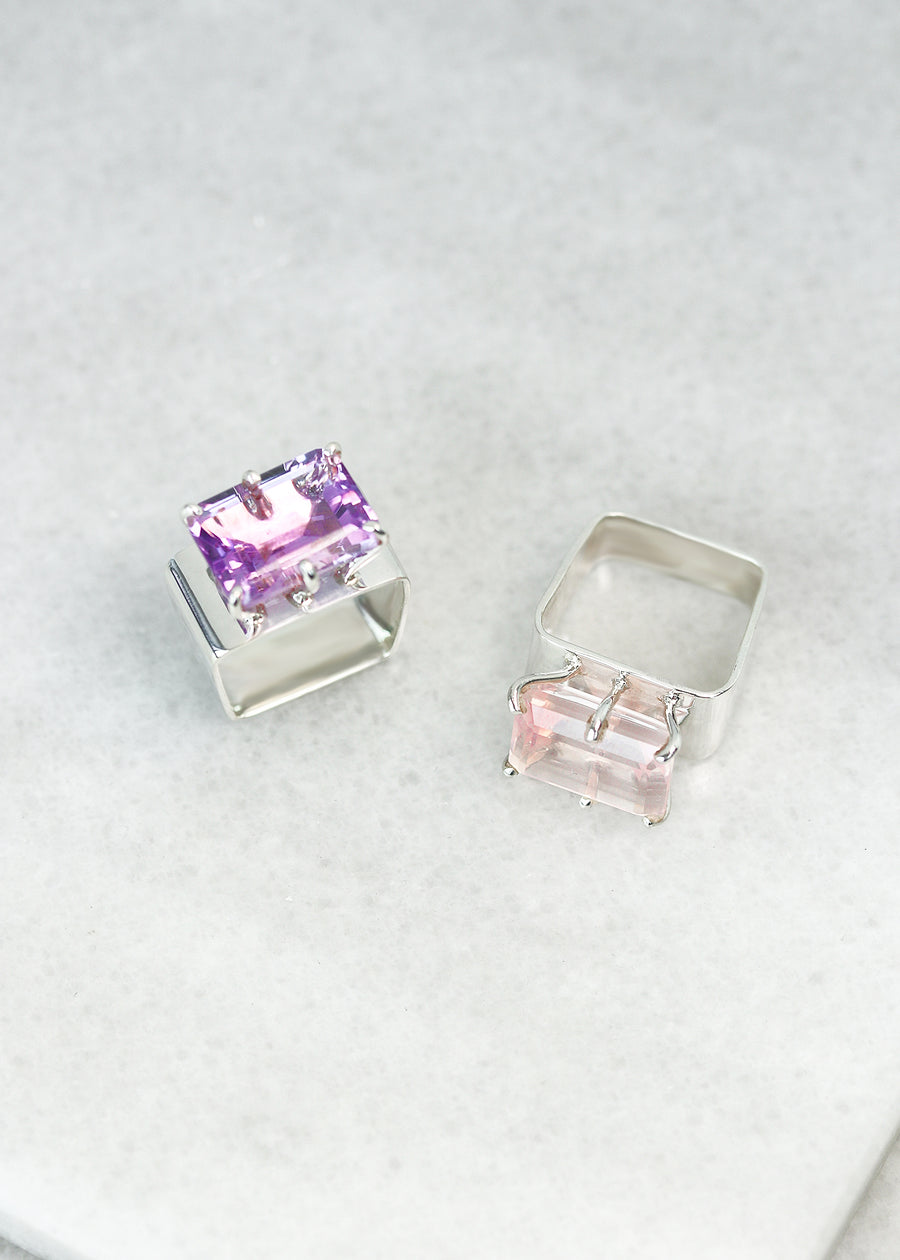 Princess Ring - Rose Quartz & Purple Amethyst