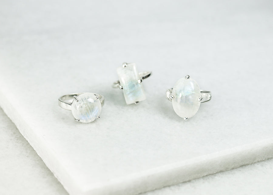 Prong Set Moonstone Rings