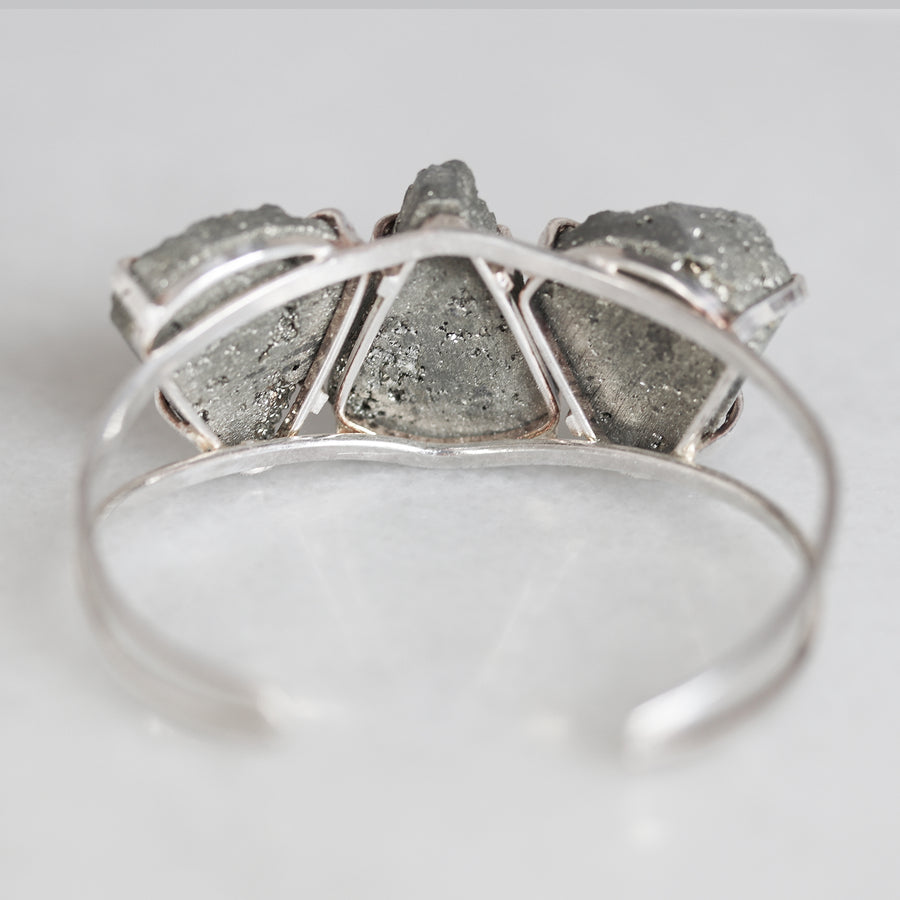 Silver Pyrite Sparkler Cuff - Large Teardrops