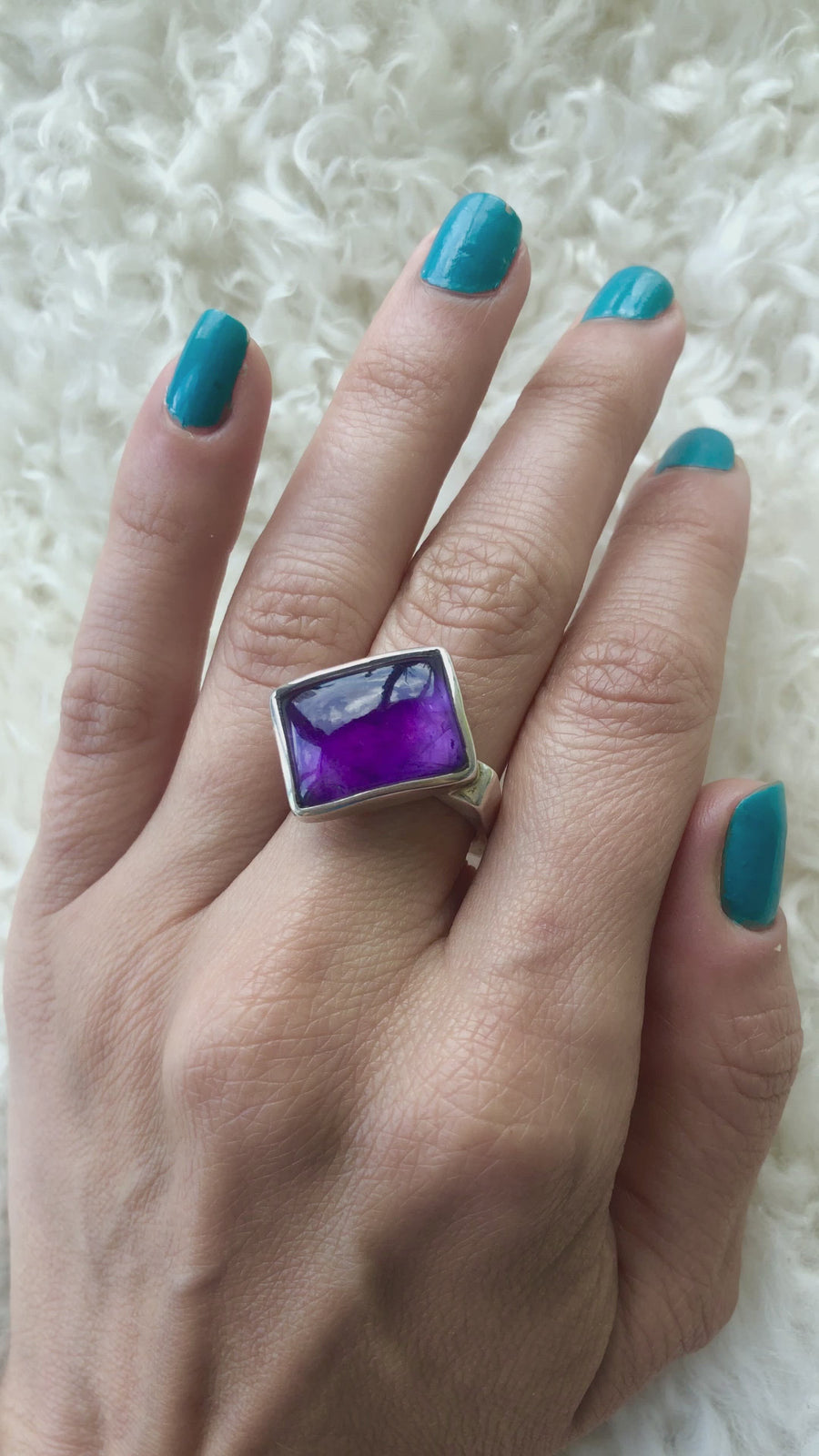 Abstract Amethyst Square Ring
