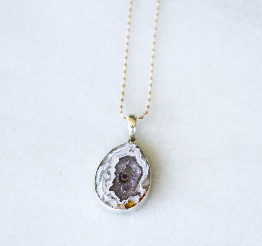 Amethyst Geode Agate Necklace
