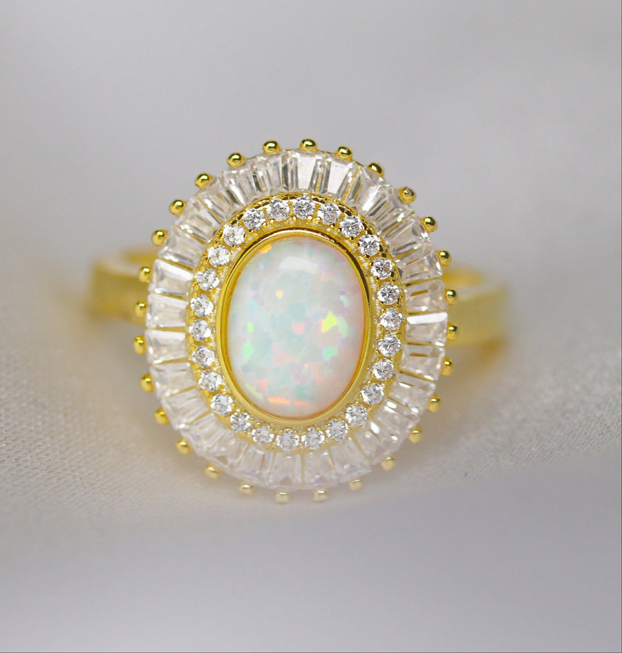 Art Deco Opal Baguette Ring - Gold