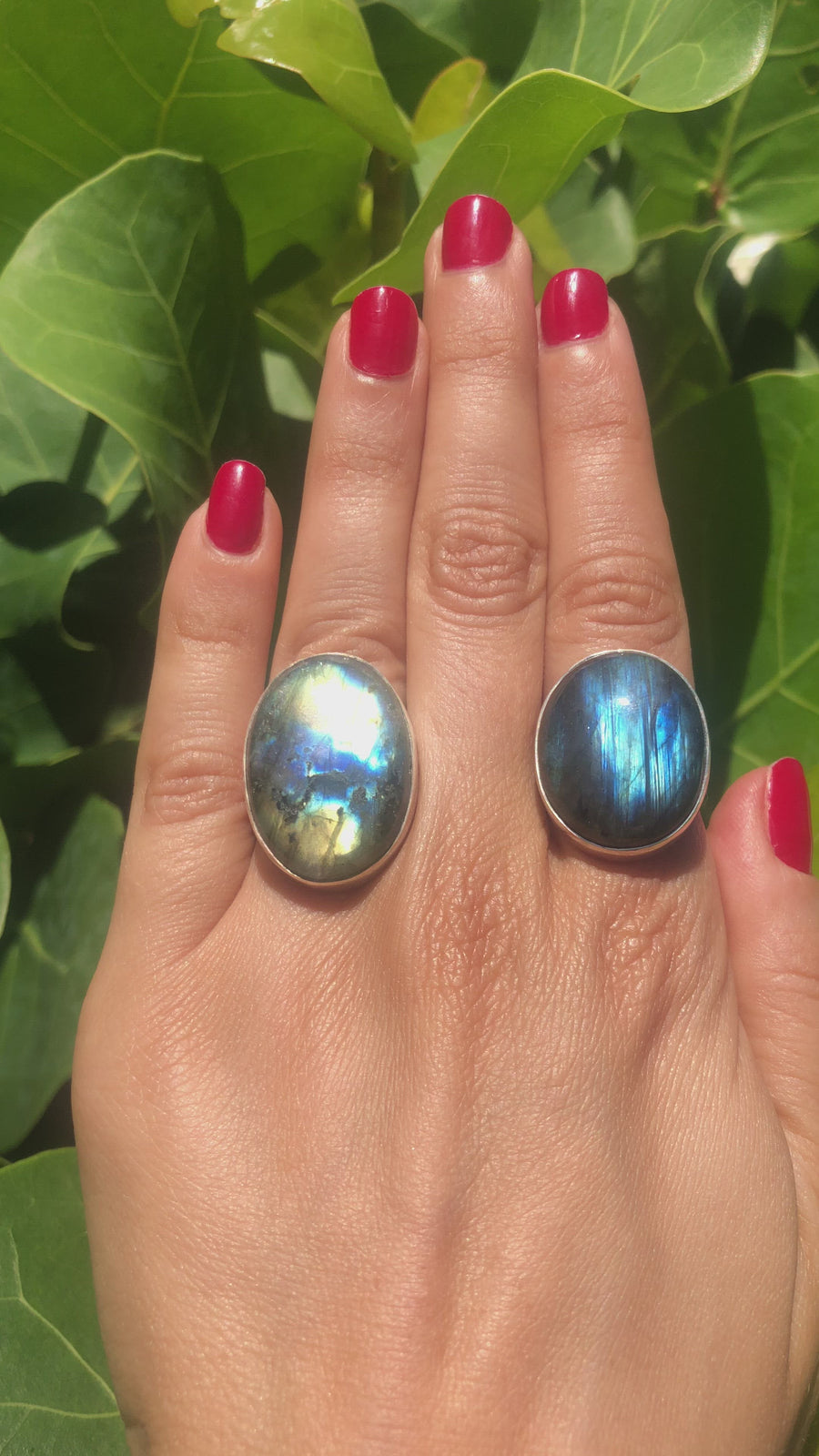 Small Oval Labradorite Ring - Adjustable