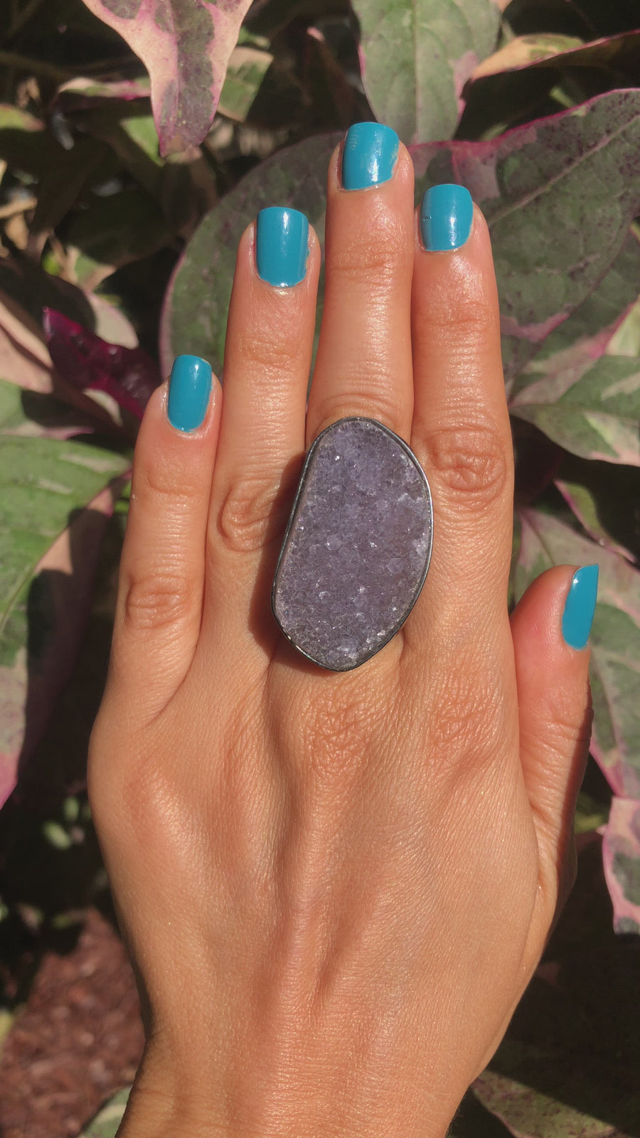 Amethyst Druzy Cuff Ring - Black