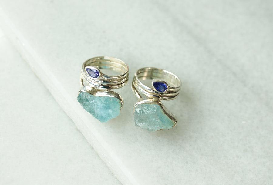 Aquamarine & Tanzanite Wrap Ring