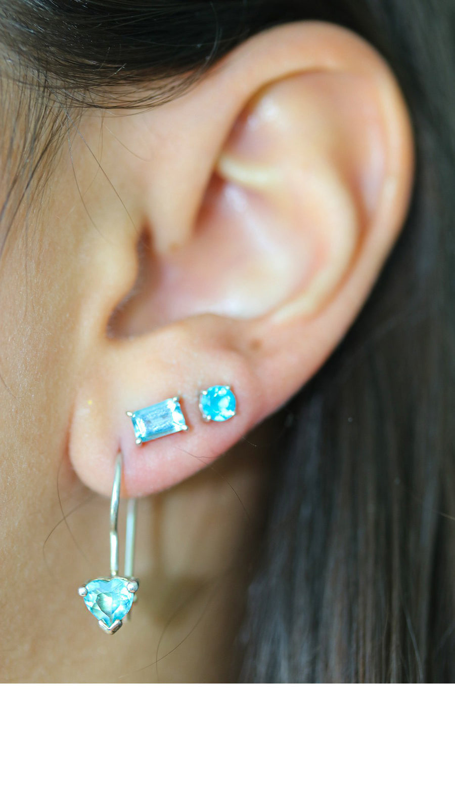 Emerald Cut Blue Topaz Studs