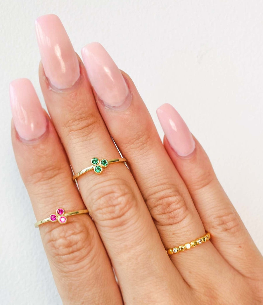 Gold Circle Crystal Infinity Stacker Ring