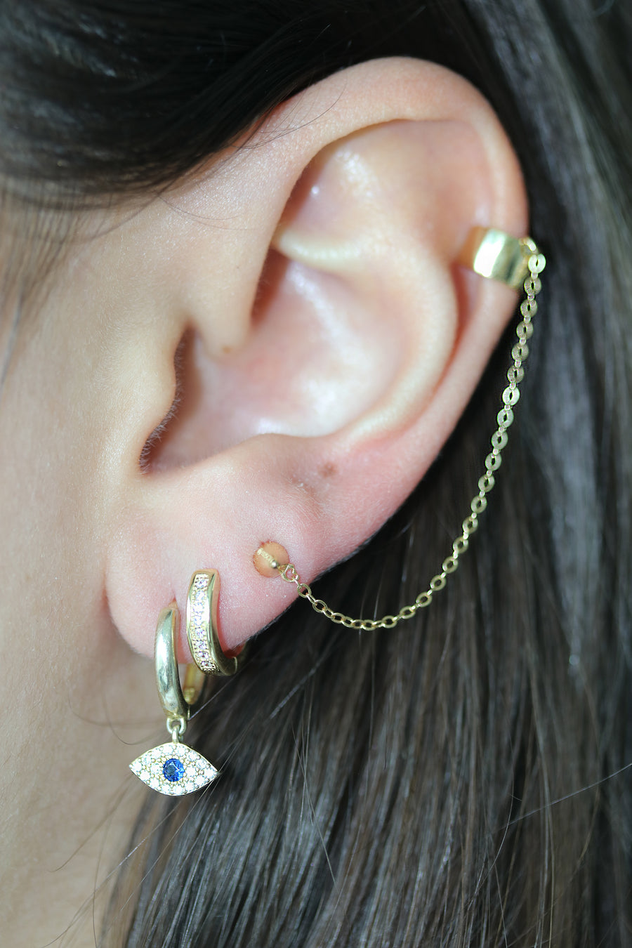 Connected Ear Cuff - silver & gold