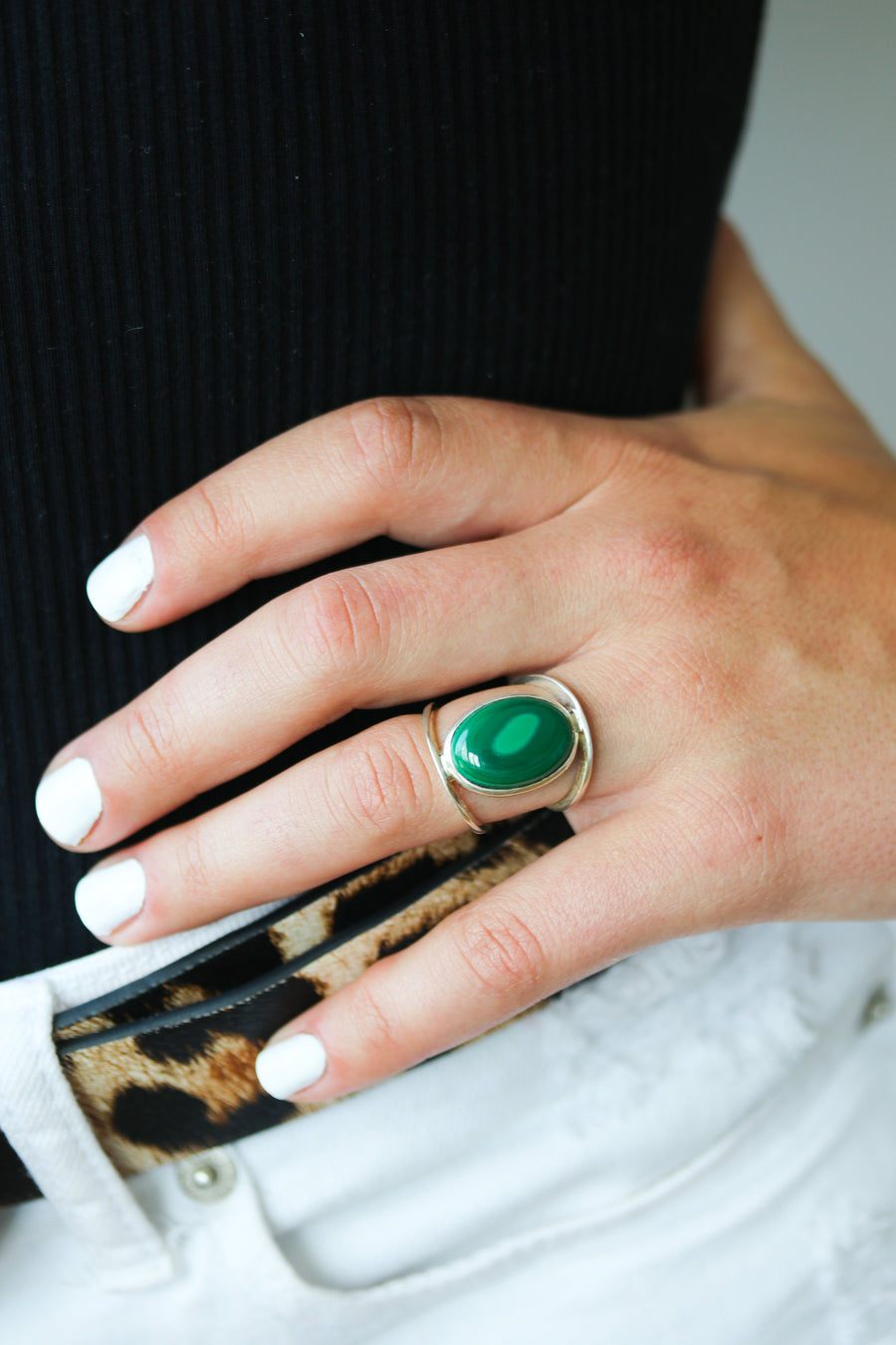 Framed Malachite Ring
