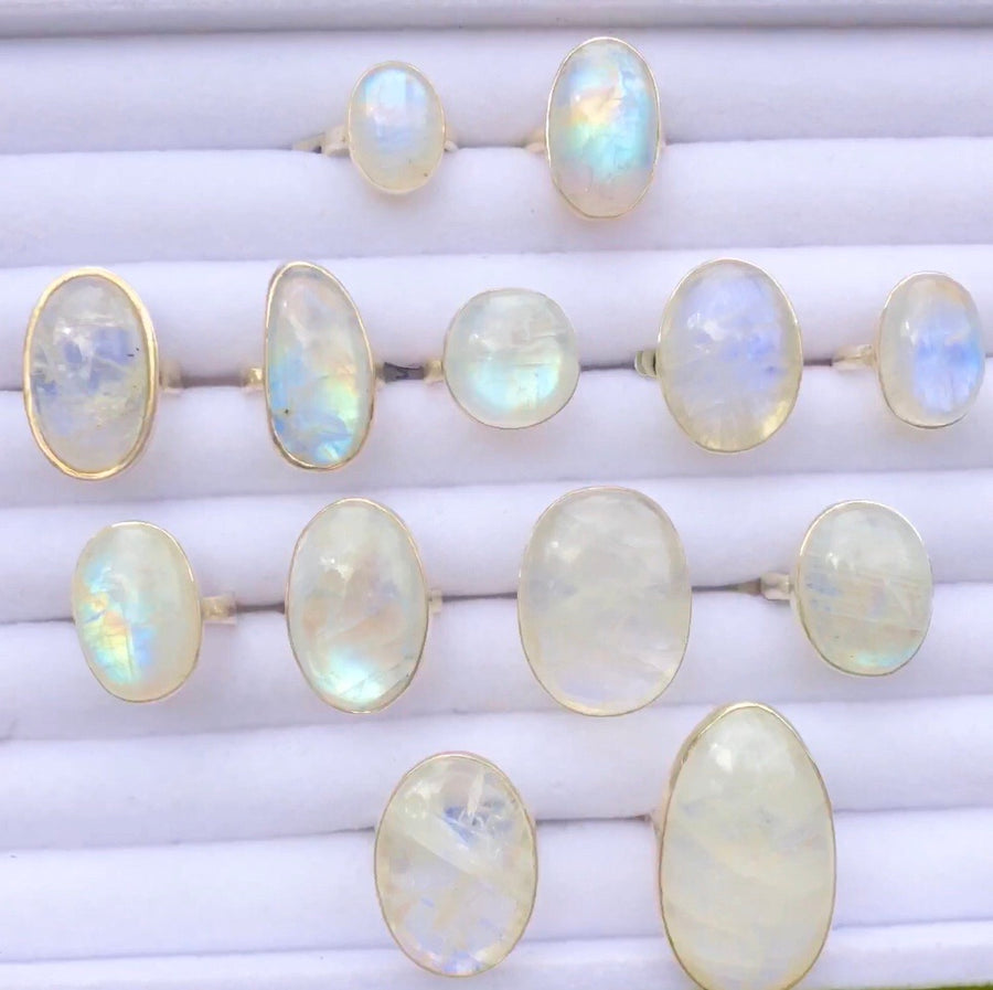 Oval Moonstone Flash Ring