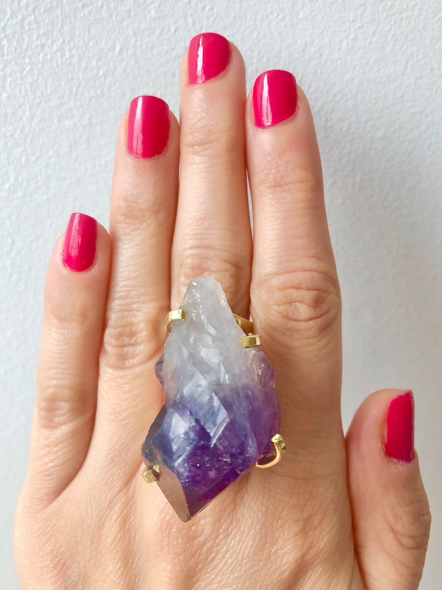 Amethyst Point Wire Ring