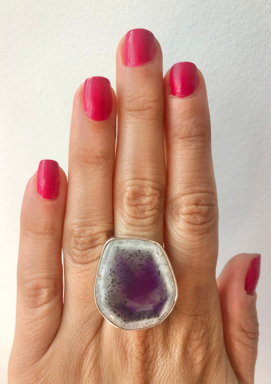 Amethyst Quartz Geode Ring
